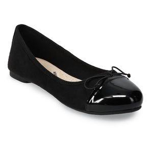 Black Cap Toe Boat Ballerina Flats Size 8